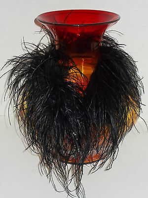 Stunning Antique vintage BLACK Ostrich Feather Collar Neck Wrap boa CRYSTAL