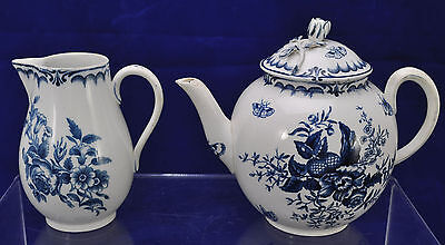 Worcester 18th Century Blue Transfer Pinecone Teapot and Creamer 1780