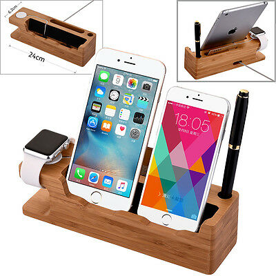Bamboo Charger Dock Station Stand Charger Holder For Apple Watch/iPhone 6S 7 8 X
