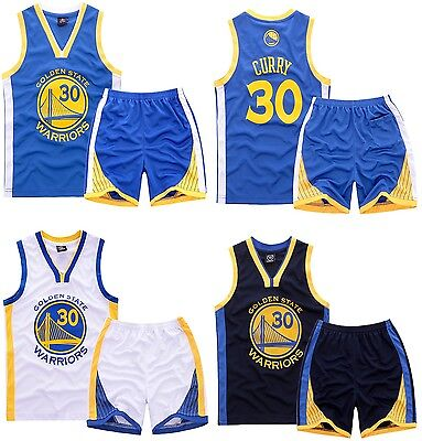 New Kids Jersey Boys Stephen Curry #30 Basketball Youth Sports Set Golden State