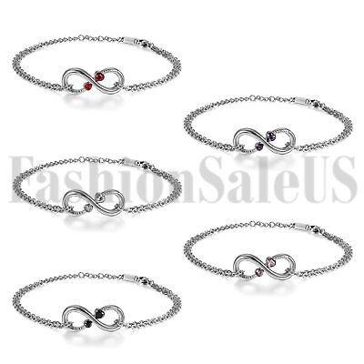 Womens Charm Infinity Stainless Steel Chain w/ 2 Love Heart CZ Anklet Bracelet