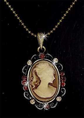 Victorian Style Lady Brown Gold Cameo Austrian Crystal Pendant Charm Necklace