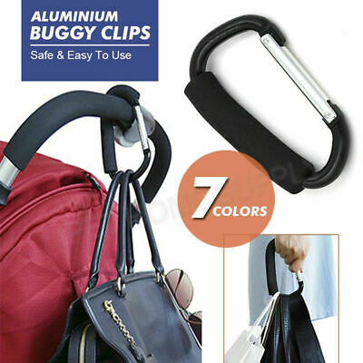 PRAM HOOK Baby Stroller Shopping Bag Clip Carrier Carabiner Large Hangers