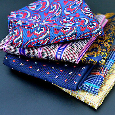 Men Pocket Square Hankerchief Korean Silk Paisley Hanky Wedding Party Special