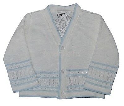 Pex Baby Boys White/Sky Blue Knitted Cardigan 0-3 3-6 6-9 Months