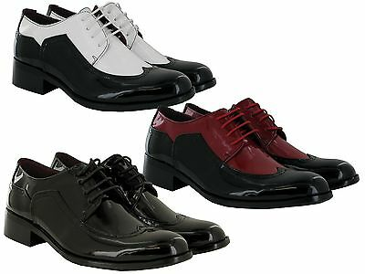 Brand New Mens Patent Low Heel Formal  Smart Lace Up Slip On Shoes Uk Size 6-11
