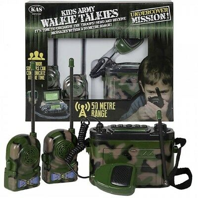 Kas Kids Army Walkie Talkies 3 Way Comms Base Set 50M Range Soldier Role Play