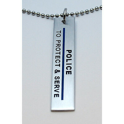 "Police | To Protect & Serve Pendent with 24"" Ball Chain Statement Necklace"