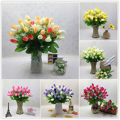 15 Heads Tulip Artificial Silk Flower Wedding Bouquet Bridal Party Home Decor