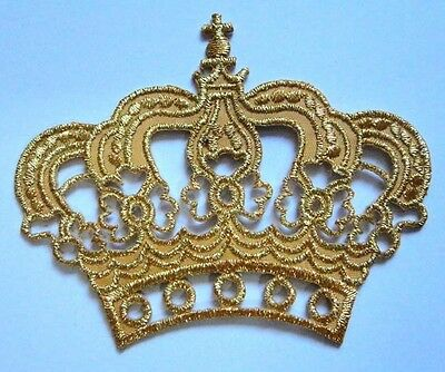 CUTE BEAUTIFUL IMPERIAL GOLDEN CROWN Embroidered Iron on Patch Free Shipping