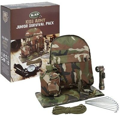 Kids Army Junior Survival Pack Backpack Whistle Torch Boys Soldier Role Play