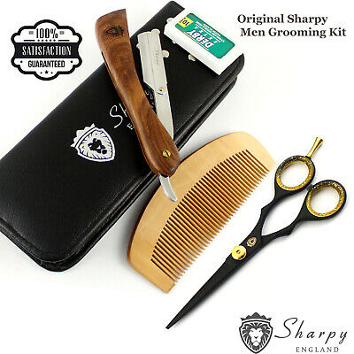 Sharpy 5 Piece Pro Grooming Kit Inc Straight Cutt throat Razor, Scissors, Comb