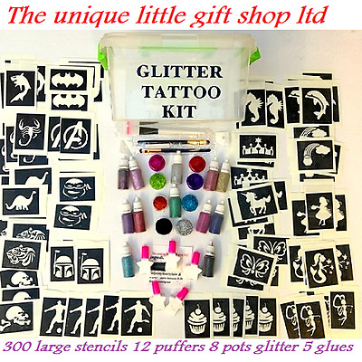 GLITTER TATTOO KIT 300 LARGE stencils 20 Glitters STORAGE BOX PERSONALISED FREE