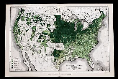 1890 United States Map Oat Production Farming Agriculture Indian Territory