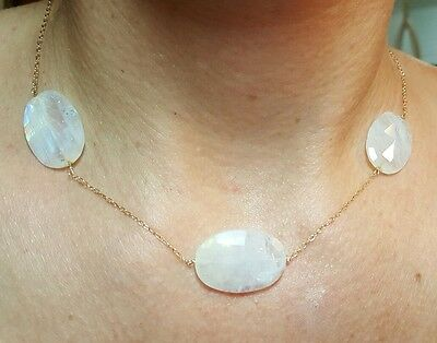 12ct 24mm Blue flash Moonstone oval faceted nugget 14k gold Necklace 15 inch