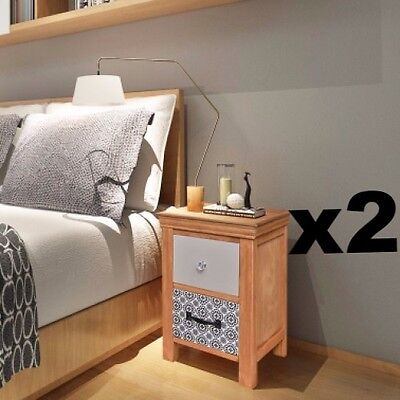 Pair Bedside Tables 2 Drawer Cabinets Brown Nightstand Wood Bedroom Furniture