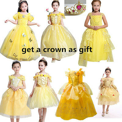 Kids Girl  Princess Belle Beauty and the Beast Cosplay Costume Fancy Party Dress