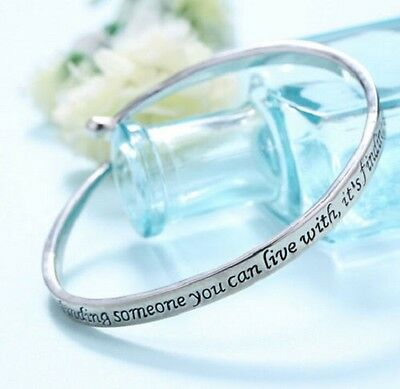 Love is Silver Coloured Bangle Bracelet Cuff  in gift bag Friendship Inspiring