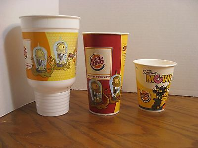 Burger King - The Simpsons Movie -  Set of 3 Cups - New - 2007