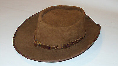 Vintage Nubuck Suede Leather Western Cowboy Hat! Brown! Custom Made In Usa! Lg