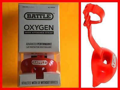 BATTLE SPORTS SCIENCE Oxygen Lip Protector / Mouthguard With Strap - Red NIB