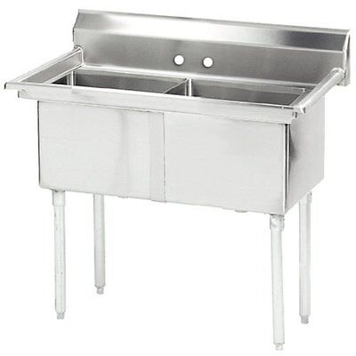 """Stainless Steel 2 Compartment Sink 41"""" x 24"""" No Drainboard NSF Certified"""