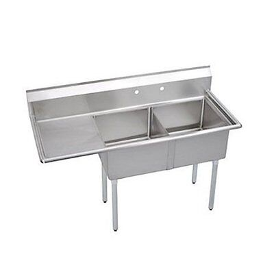 "Stainless Steel 2 Compartment Sink 75"" x 30"" with Left Drainboard"