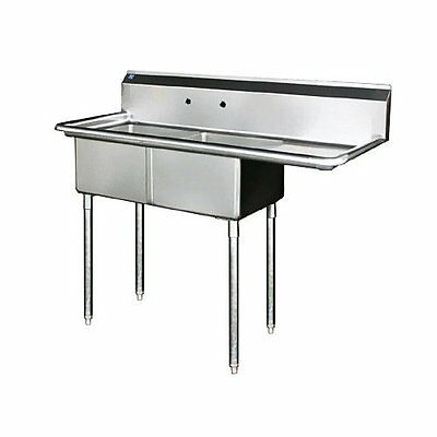 "Stainless Steel 2 Compartment Sink 75"" x 30"" with Right Drainboard"