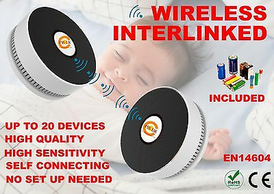 Wireless Radio Interlinked Fire Smoke Alarm/detector With Batteries. En.ce Mark