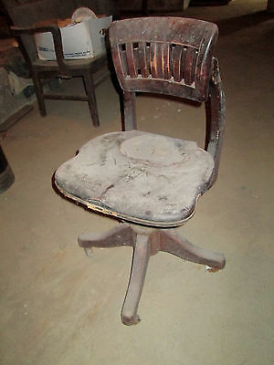 Vintage Wood Swivel Mead & Wheeler Company Chicago Chair Banker Office