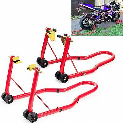Extra Heavy Duty Motorcycle Front & Rear Paddock Stand Set Combo Pack Uk ( Red )