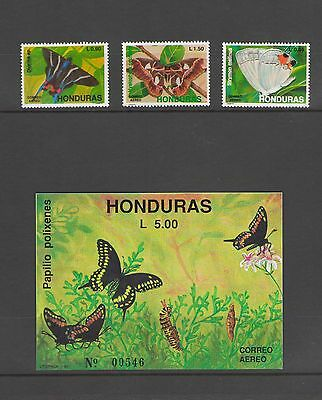 HONDURAS: C809-11  / Beautiful ***BUTTERFLIES ****/ Set & SS  / MNH