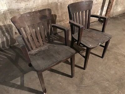 4 Vintage Antique Solid Wood Arm Office Chairs