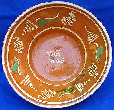 19th century yellow slipware decorated and glazed redware mixing bowl dated 1866