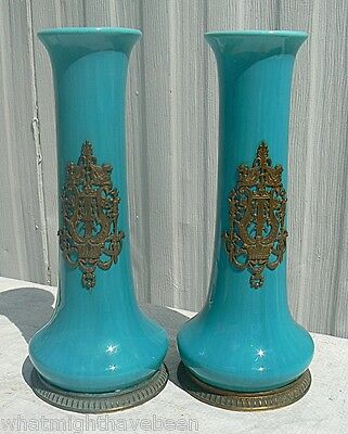 Gorgeous French or English Antique Turquoise Vases Bronze Ormolu Griffins 10½""