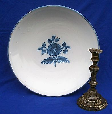 Very large 18th century Dutch tin-glazed pottery blue and white bowl circa 1750