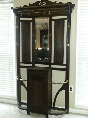 Hall Tree - Antique with mirror and umbrella stand
