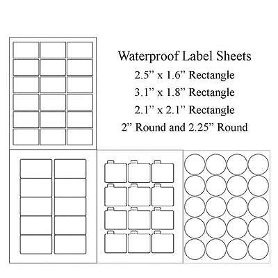 Waterproof Label Sheets, Blank Weatherproof Round or Rectangular Jars, Lip Balm