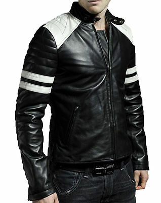 Men Motorcycle Genuine Lambskin Leather Jacket Black Retro Slim fit Biker jacket