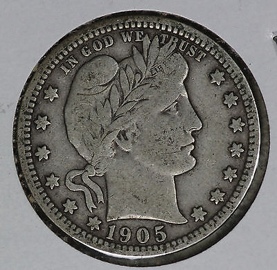 Better Date 1905-O Barber Quarter - Strong Fine Condition Coin