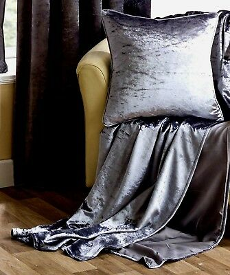 """Silver Grey Shimmering Soft  Crushed Velvet Throw 60""""x78"""" £23.99 Eafree Postage"""