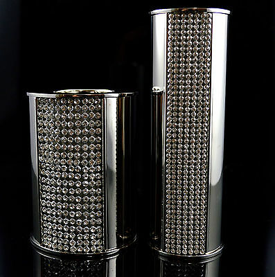 Elegant Silver And Crystal Candle Holder Tealight Dinner Candle Set of 2 Gift