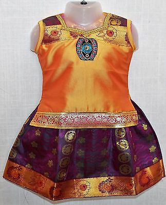Indian Kanchipuram Silk Pattu Pavadai Chattai Pattu Lenga 9 mo to 2 yrs Baby