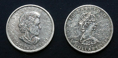TWO 1 oz .9999 Silver Canadian Maple Leafs  1989 and 2011