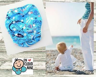 Reusable SWIM NAPPY - OCEAN - OSFM Baby Diaper Pants Swimmer Newborn to Toddler