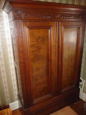 American Black Walnut ARMOIRE Wardrobe Victorian East Lake 7'h Carved 1800s