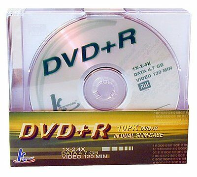 KHypermedia 120 Minute/4.7 GB 2.4x DVD+R Discs 10-Pack with Dual Slim Jewel Case