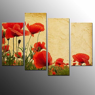 FRAMED Modern Canvas Art Prints Flowers Oil Painting Wall Art Print Poster-4pcs