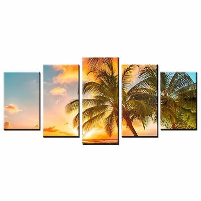 FRAMED Canvas Art Prints Seaside Sunset Canvas Painting Wall Art Home Decor-5pcs