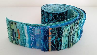 "Batik Fabric - Jelly Roll - 40 Strips - 2.5"" x 44"" - Quilting - Free AU Post !"